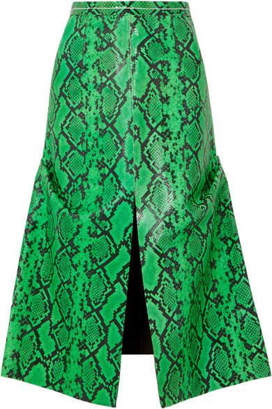 Marni Snake-effect Leather Midi Skirt - Green