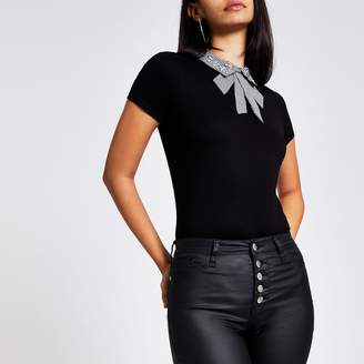River Island Womens Black houndstooth embellished collar tee