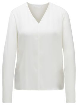 BOSS Long-sleeved top in stretch silk with V neckline