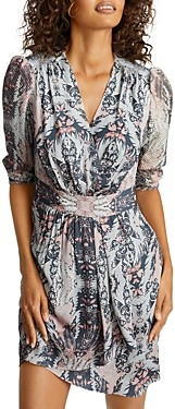 Reiss Lacey Printed Gathered Waist Dress
