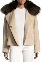 Derek Lam 10 Crosby Fur-Trim Colorblock Coat, Beige