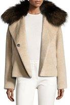 Derek Lam Fur-Trim Colorblock Coat, Beige