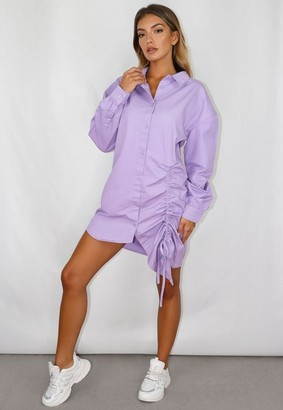 Missguided Lilac Ruched Denim Shirt Dress