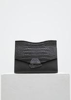Proenza Schouler black crocodile medium curl clutch