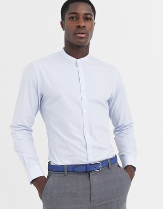 French Connection plain poplin grandad collar slim fit shirt-Blue
