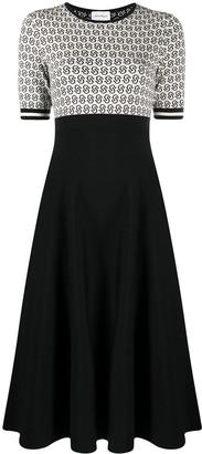 Salvatore Ferragamo Intarsia-Knit Flared Dress