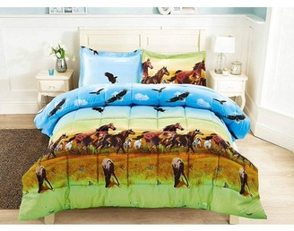 Hig 3 Piece 3D Comforter Set -3D Horse and Eagle Printed Comforter Set King Size (Y25) - Box Stitched, Soft, Breathable, Hypoallergenic, Fade Resistant -1pc 3D print King Comforter, 2pcs 3D print Shams