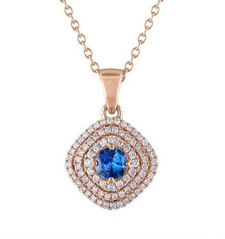 Heritage 18K Rose Gold 1.20 Ct. Tw. Diamond & Blue Sapphire Necklace