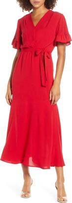 Fraiche by J Ruffle Sleeve Faux Wrap Dress