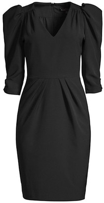 Black Halo Livia Puff-Sleeve Sheath Dress