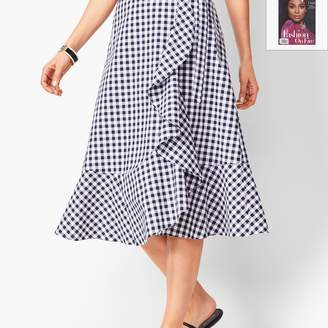 Talbots Gingham Tie-Front Midi Skirt