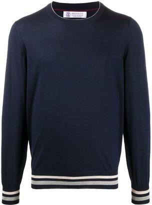 Brunello Cucinelli Stripe-Hem Crew Neck Sweater
