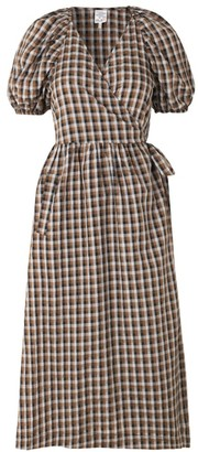 Baum und Pferdgarten Adalaine Puff-Sleeve Check Midi Dress