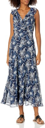 Ronni Nicole Women's Sleevless Ruffle Neck Printed Maxi Navy/White 16