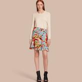 Burberry Floral Flared-hem Silk Skirt