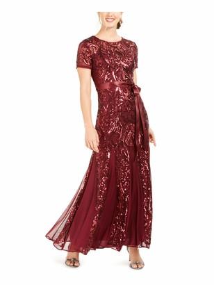 R & M Richards R&M Richards Womens Burgundy Sequined Short Sleeve Jewel Neck Full-Length Fit + Flare Evening Dress Petites UK Size:8