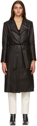 Mackage Black Selena Leather Trench Coat