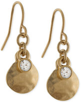 Lauren Ralph Lauren Gold-Tone Hammered Disc and Crystal Drop Earrings