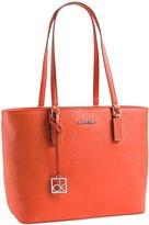 Calvin Klein White Label Scarlett Saffiano Leather Shopper Tote ( Fire)