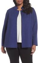 Eileen Fisher Plus Size Women's Wool Blend Mandarin Collar Jacket