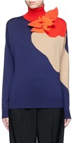 DELPOZO Floral brooch colourblock knit turtleneck sweater