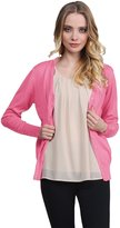 Awesome21 Basic Solid V Neck Sweater Cardigans Baby Pink Size L