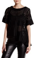 Gracia Striped Lace Asymmetrical Block Hem Tee