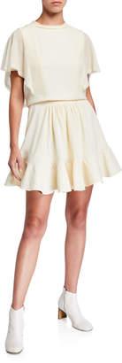 Chloé Flutter-Sleeve Drawstring-Waist Light-Cady Short Dress