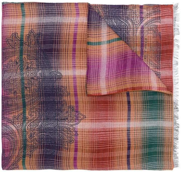 Etro plaid paisley scarf