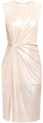 Paisie Twist Knot Metallic Dress In Champagne