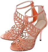 CAMSSOO Women's Sparkle Crystal Cutouts Stiletto Back Zipper High Heels Party Dress Sandals Size 8.5 EU40