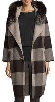 Belle Fare Felt Check Wool-Blend Coat, Oatmeal