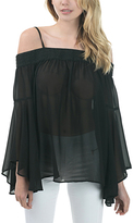 Bow & Arrow Black Off-Shoulder Smock-Accent Bell-Sleeve Blouse