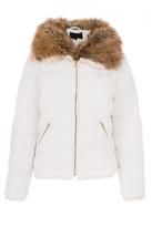Quiz White Padded Faux Fur Collar Zip Jacket
