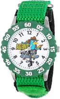 Disney Kids' W000372 Agent P Stainless Steel Time Teacher Green Bezel Green Velcro Strap Watch