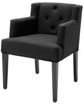 Eichholtz Boca Raton Upholstered Dining Chair Upholstery Color: Black, Leg Color: Gray