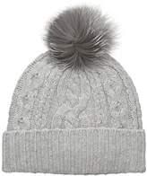 Sofia Cashmere Women's 100% Cable Texture Hat with Fox Fur Pom
