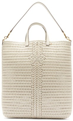 Anya Hindmarch Neeson Woven-leather Tote Bag - Womens - Cream