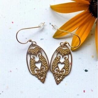 Handmade Brass Owl Love Dangle Earrings by Spirit