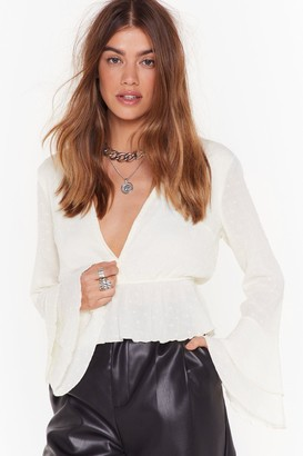 Nasty Gal Womens Plunge Forward Cropped Blouse - White
