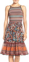 ECI Women's Mixed Media Fit & Flare Dress