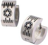 Disney Licensed Star Wars Imperial Symbol Logo & Grate Stainless Steel Huggie Earrings