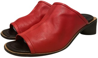 Acne Studios Red Leather Mules & Clogs