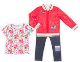 Little Lass Red Lace Zip-Up Jacket Set
