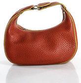Cole Haan Orange Pebbled Leather Silver Tone Mini Hobo Handbag