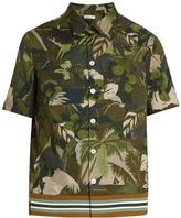 Valentino Tropical-print short-sleeved cotton shirt