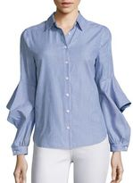 BCBGMAXAZRIA Striped Cotton Ruffle Sleeve Blouse