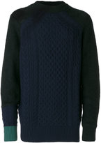 Sacai colour block cable knit sweater