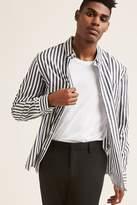 21men 21 MEN Stripe Curve Hem Shirt