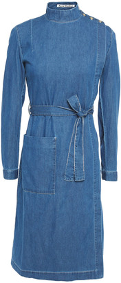 Acne Studios Dada Belted Button-detailed Cotton-chambray Wrap Dress